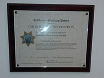 CHP Certificate of Recognition for Ivory Freeman